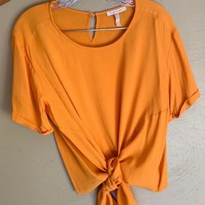 Skies Are Blue- Orange Tie Front Blouse